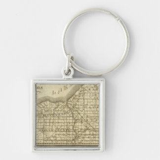 Map of The Western Reserve Silver-Colored Square Keychain