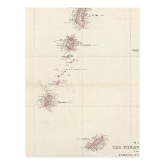 Map of the Windward Islands Postcard