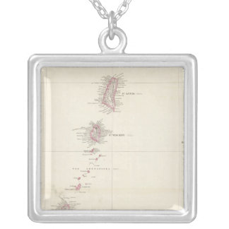 Map of the Windward Islands Silver Plated Necklace