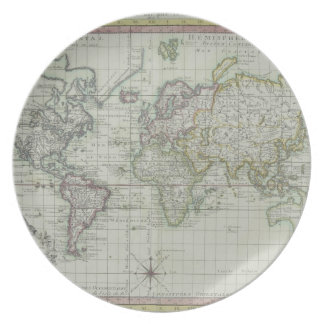 Map of the World 11 Dinner Plates
