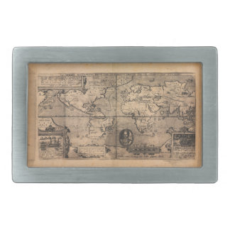 Map of the World (1581) Rectangular Belt Buckle