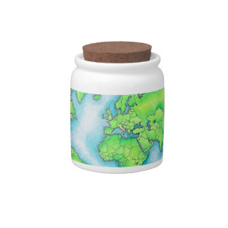 Map of the World 15 Candy Jars