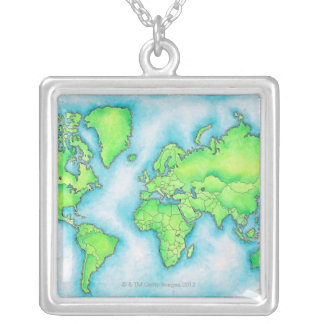 Map of the World 15 Silver Plated Necklace
