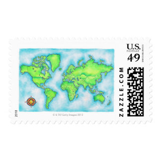 Map of the World 15 Stamp
