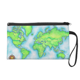 Map of the World 15 Wristlet