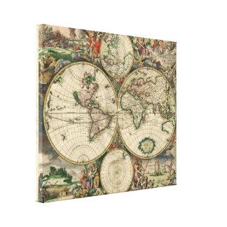 Map of the World 1689 - by Gerard Van Schagen Gallery Wrap Canvas