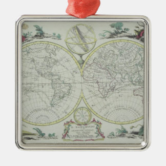 Map of the World 18 Metal Ornament