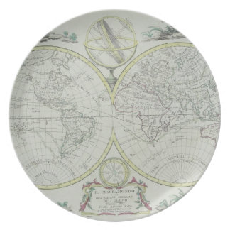 Map of the World 18 Party Plates
