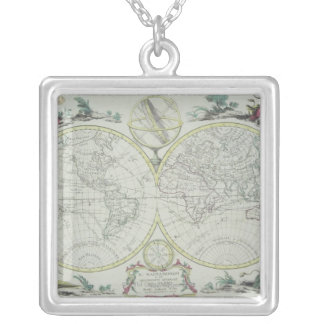 Map of the World 18 Silver Plated Necklace