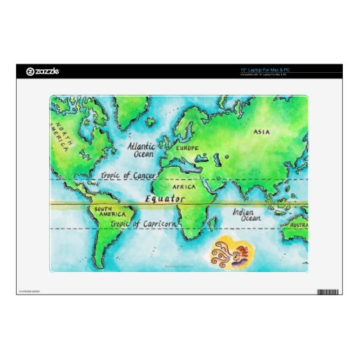 Map of the World 19 Decals For Laptops