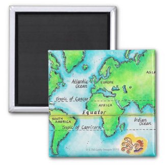 Map of the World 19 Magnet