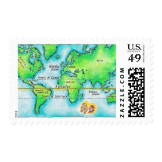 Map of the World 19 Postage
