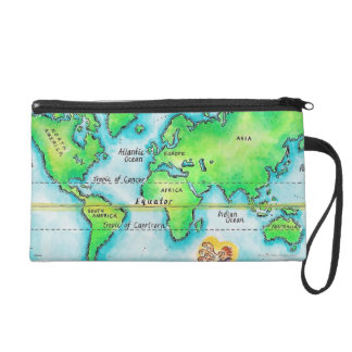 Map of the World 19 Wristlet