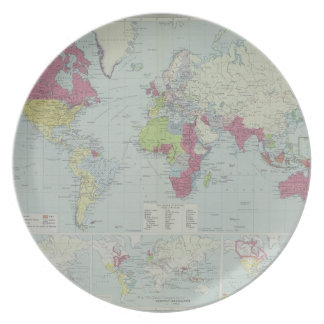 Map of the World 20 Dinner Plate