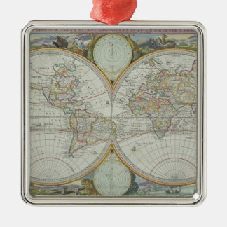 Map of the World 21 Metal Ornament