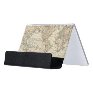 Map of the World 2 2 Desk Business Card Holder
