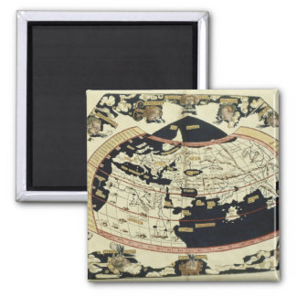Map of the world 2 inch square magnet