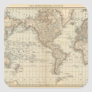 Map of the World 2 Square Sticker