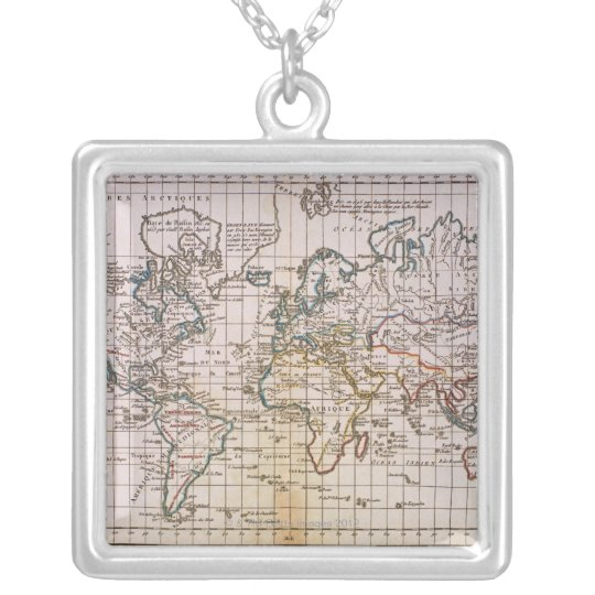 Map of the World 3 Silver Plated Necklace