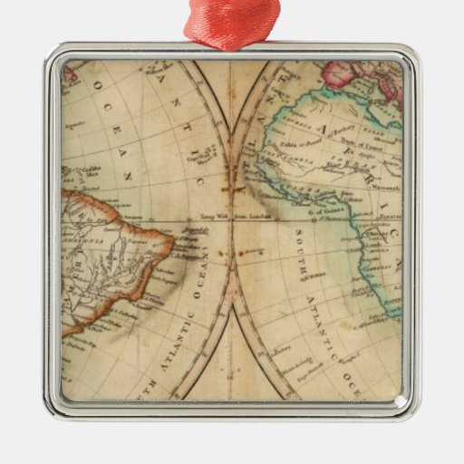 Map of the World 3 Square Metal Christmas Ornament