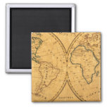 Map of the World 5 2 Inch Square Magnet