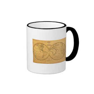 Map of the World 5 Ringer Coffee Mug