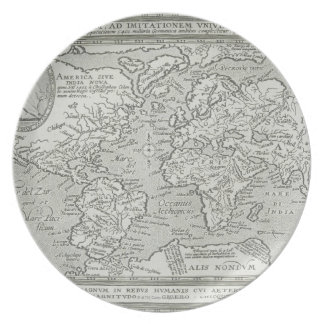 Map of the World 6 Dinner Plates