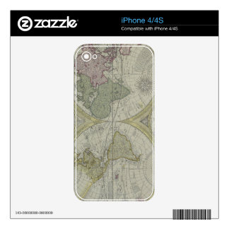 Map of the World 7 Decal For iPhone 4