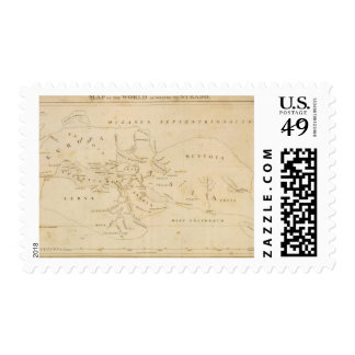 Map of the World According to Strabo Stamp