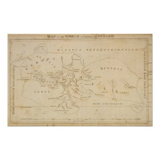 Map of the World According to Strabo Poster