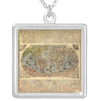 Map of the World Antique Globe Silver Plated Necklace