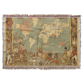 Map of the World Antique Throw Blanket