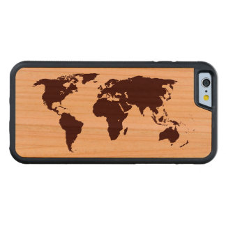 Map of the world carved cherry iPhone 6 bumper case