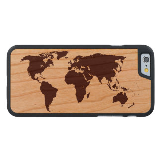 Map of the World Carved Cherry iPhone 6 Slim Case