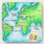 Map of the World & Equator Drink Coaster