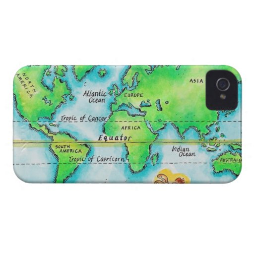 Map of the World & Equator iPhone 4 Case