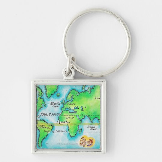 Map of the World & Equator Keychain
