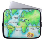Map of the World & Equator Laptop Computer Sleeves