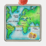 Map of the World & Equator Metal Ornament
