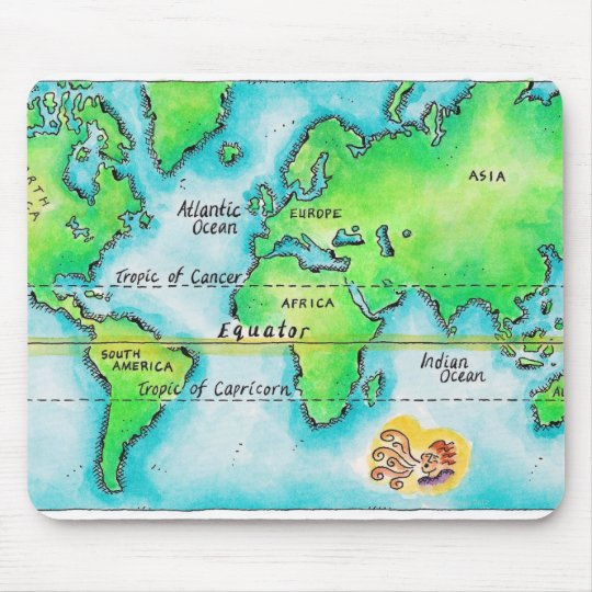 Map of the World & Equator Mouse Pad