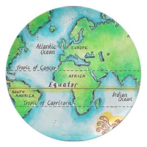 Map of the world amp equator plate zazzle