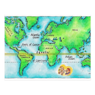 Map of the World & Equator Postcard