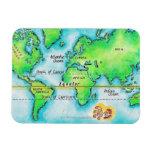 Map of the World & Equator Rectangular Photo Magnet