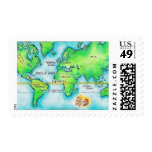 Map of the World & Equator Stamp