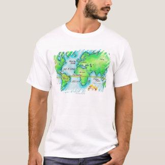 Map of the World & Equator T-Shirt
