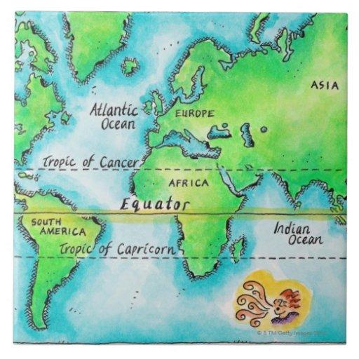 Map of the world amp equator tile zazzle