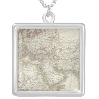 Map of the World known to the ancients Silver Plated Necklace