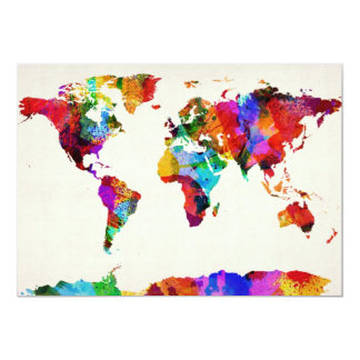 Map of the World Map Abstract Painting 5x7 Paper Invitation Card