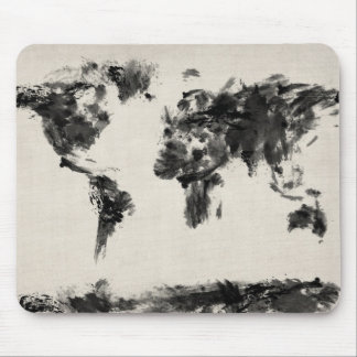 Map of the World Map Dark Abstract Painting Mouse Pad