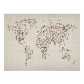 Map of the World Map Floral Swirls Poster